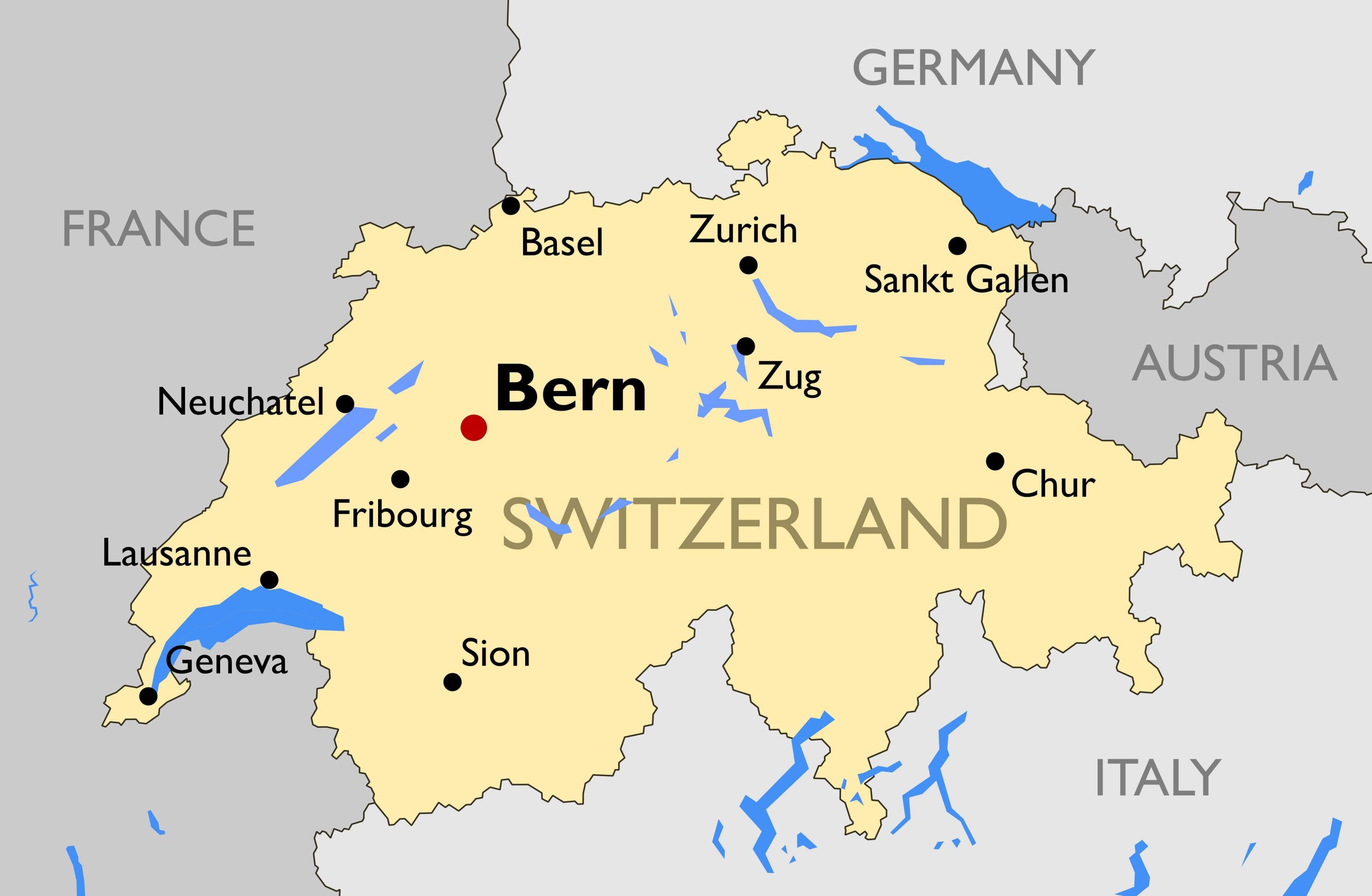 Šveicarijos miestų žemėlapis - Žemėlapis, šveicarija su didžiųjų miestų  (Vakarų Europoje - Europa)